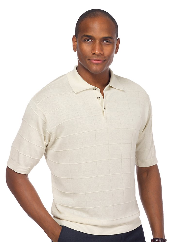 Paul Fredrick Men's Silk Grid Polo Collar Sweater KMF301S000000