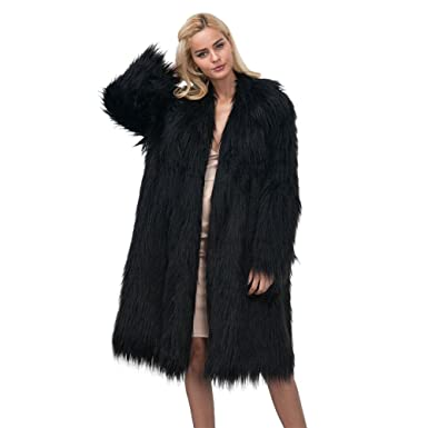 Zwingtonseas Womens Winter Elegant Warm Fluffy Shaggy Long Faux Fur Jacket Coat with Invisible Buttons Black