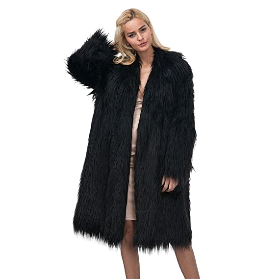 7a70506d56e7 iBaste Women's Winter Elegant Warm Fluffy Shaggy Solid Long Faux Fur Jacket  Coat with Invisible Buttons