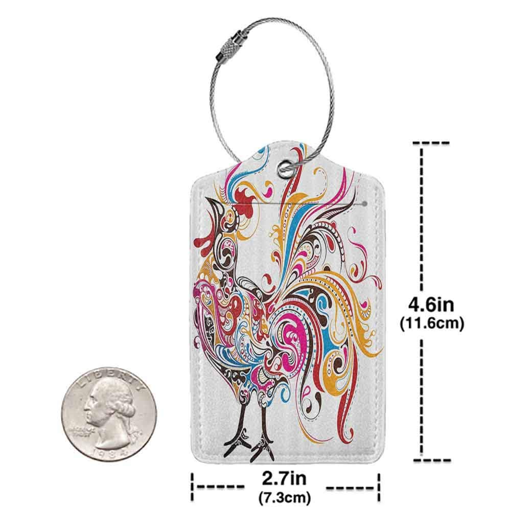 Multicolor luggage tag Gallos Decor Collection Colorful Cock Shape with Classic Decorative Curved Lines Paisley Animal Artwork Hanging on the suitcase Magenta Yellow Red W2.7 x L4.6