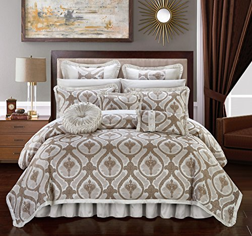 Chic Home Tyler 9 Piece Comforter Set Jacquard Scroll Faux Silk Bedding with Pleated Flange - Bed Skirt Decorative Pillows Shams Included, King Beige