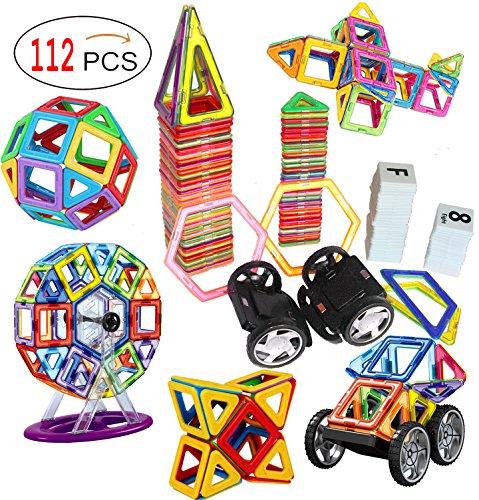 Magnetic Tiles Game Set STEM Magnet Building Blocks Toys sets (112 PC Set)