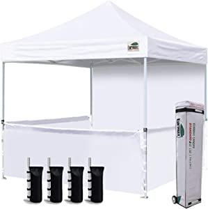 Eurmax 10'x10' Ez Pop-up Booth Canopy Tent Commercial Instant Canopies with 1 Full Sidewall & 3 Half Walls and Roller Bag, with 4 SandBags + 3 Cross-Bar(White)