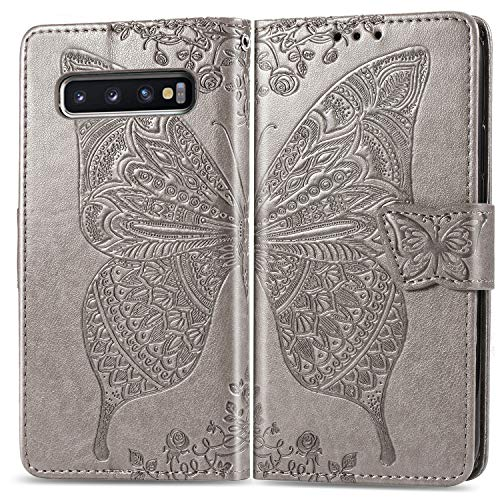 Butterfly Phone Cover - Galaxy S10 Plus Wallet Case, [Butterfly & Flower Embossed] PU Leather Wallet Flip Protective Phone Case Cover with Card Slots and Stand for Samsung Galaxy S10 Plus 6.4 inch 2019 (Gray)