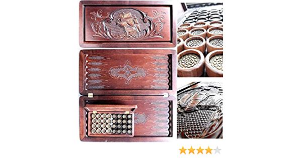 """Leather Pieces 20/"""" COOB Luxury Engraved Wooden Backgammon *SHIP CARVED*"""