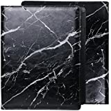 Z PLINRISE Luxury Marble Portfolio File Folder Document Resume Organizer,Padfolio File Holder Folders Letter Size,Standard 3 Ring Binder with Clipboard (Marble Black)