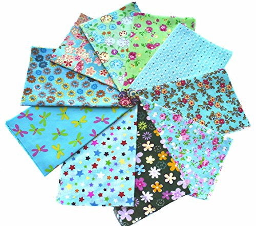 RayLineDo 10pcs 8 x 12 inches (20cmx30cm) Print Cotton Green Series Fabric Bundle Squares Patchwork DIY Sewing Scrapbooking Quilting Pattern Artcraft