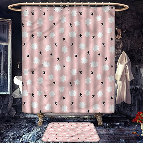 Kids patterned Shower curtain bath mat Children in the Pool on Life Buoys Swimming Summer Season Themed Cartoon Characters Fabric Bathroom Decor Set with Hooks Multicolor