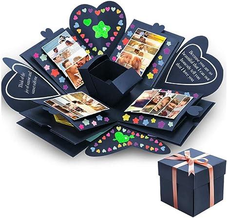 Benrise Caja de Regalo de explosión Hecha a Mano, álbum de Fotos, Caja de Regalo Plegable para cumpleaños, día de San Valentín, Boda, proposición, Compromiso, Aniversario de cumpleaños: Amazon.es: Hogar