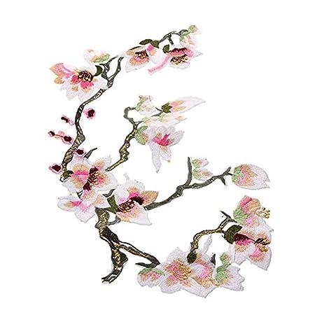 1pc Big Flower Leaf Embroidery Applique Patch Plum Blossom Flower Patch  Iron on Applique Flower Applique Patch