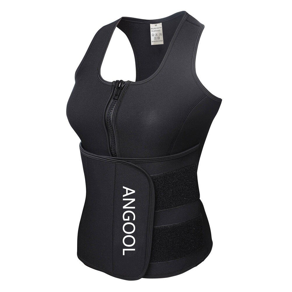 841a6b2ab44 ANGOOL Waist Trainer Neoprene Sweat Sauna Vest for Women Weight Loss with  Zipper and Waist Trimmer Belt at Amazon Women s Clothing store