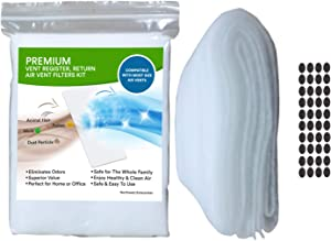 """Vent Filters & Vent Register Filters Kit - 120"""" x 10"""" - Electrostatic Filter Media & 1/2"""" Hook Adhesive tabs (30+ Filters per Roll). Dust and Allergy Reduction. Cut to Fit. (1)"""
