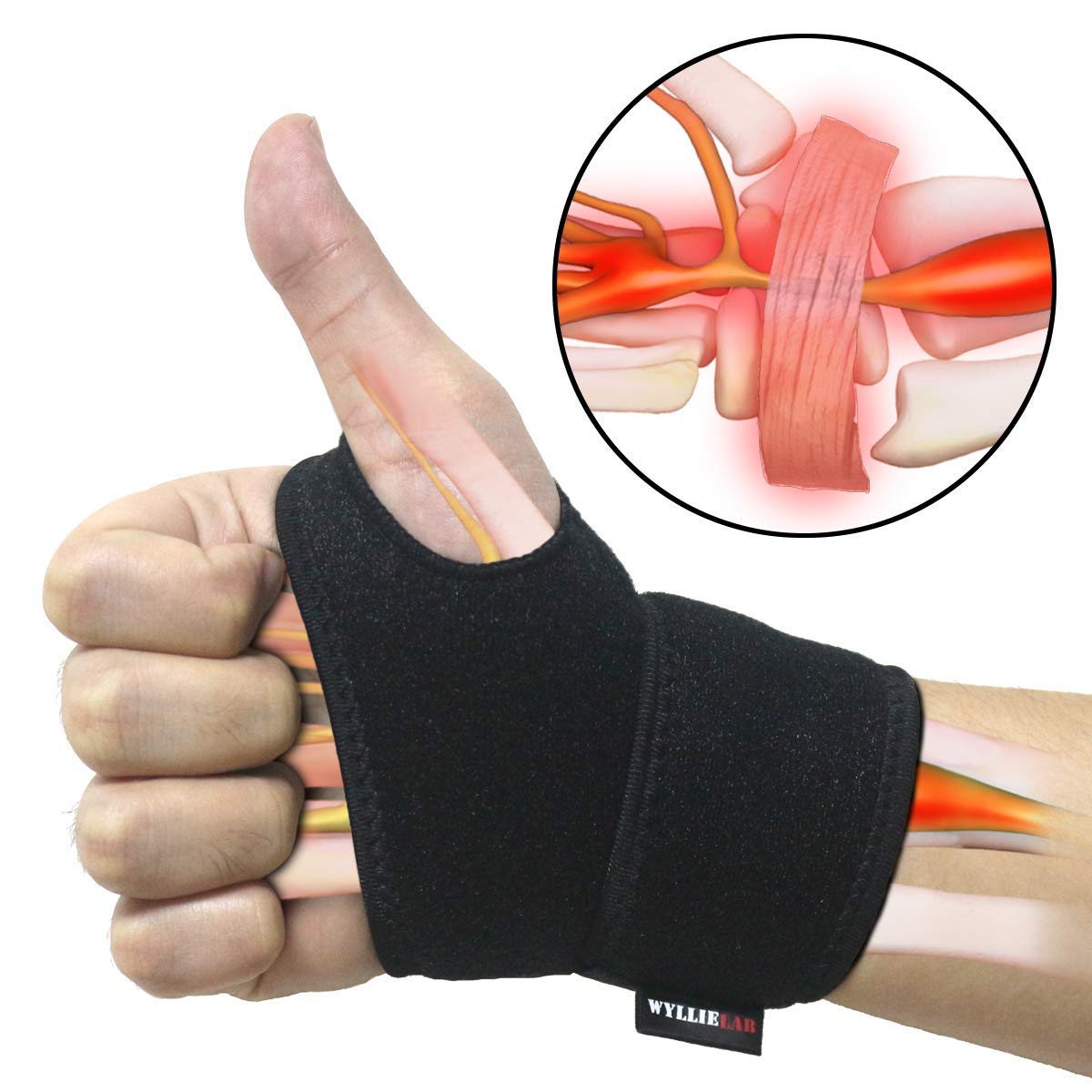 Wrist Brace for Carpal Tunnel, Comfortable and Adjustable Wrist Support Brace for Arthritis and Tendinitis, Wrist Compression Wrap with Pain Relief, Fit for Both Left Hand and Right Hand - Single by WYLLIELAB