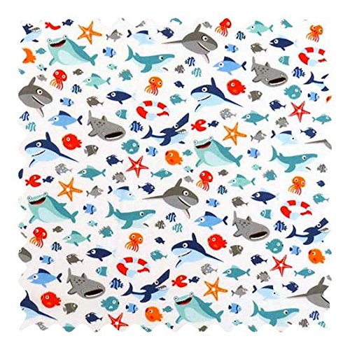 (SheetWorld 100% Cotton Percale Fabric by The Yard, Baby Sharks, 36 x 44)