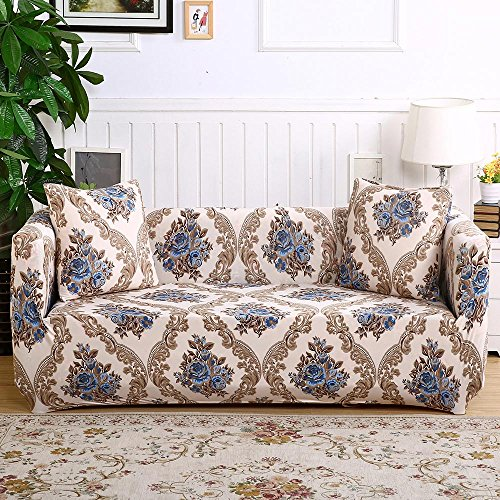 NEWLAKE Sofa Covers 1-Piece with Elastic Strap, Slipcover for Furniture (Sofa, European Printed) (Plaid Sofa Sets)