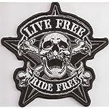 Écusson biker au motif tête de mort avec inscription «Live Free Ride Free»