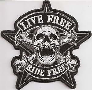 Live Free Ride Free Pirate Skullhead Calavera Biker moto–Parche