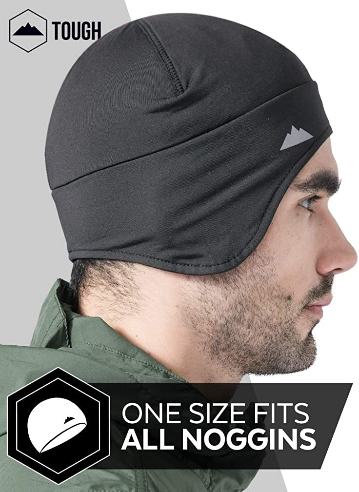 Tough Headwear Helmet Liner Skull Cap Beanie with Ear Covers - Ultimate Thermal Retention and Performance Moisture Wicking. Perfect for Running, Cycling, Skiing & Winter Sports. Fits Under Helmets: Clothing