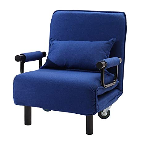 Astonishing Inmozata 2 In 1 Single Folding Futon Chair Sofa Bed Chair Guest Sleeper Chair Bed With Pillow Wheels For Home Bedroom Living Room Blue Ibusinesslaw Wood Chair Design Ideas Ibusinesslaworg