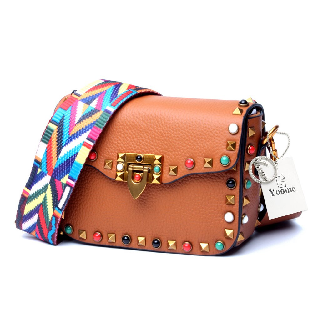 Yoome Mini Crossbody Bag Designer Clutch for Women Rivets Bags with Colorful Strap Cowhide Leather Shoulder Bag for Girls - Brown