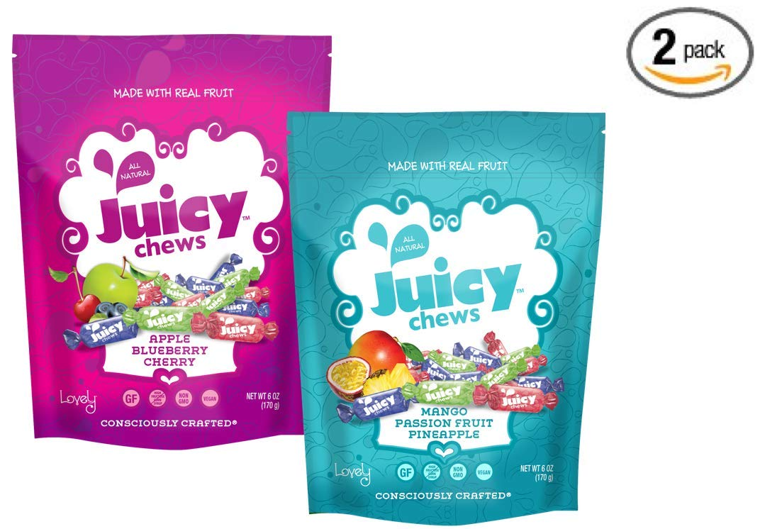 Assorted VEGAN All-Natural Fruit Chews (2 pack) - (2) Lovely Co. 6oz Bags - ORIGINAL + TROPICAL | NON-GMO, Soy-Free, Kosher & Gluten-Free!