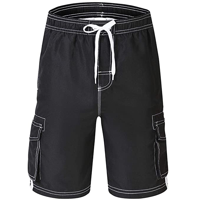 0f0b0e16c28 Akula Big Boys' Swim Shorts Quick Dry Solid Swim Trunks Boys Bathing Suits  Black Size