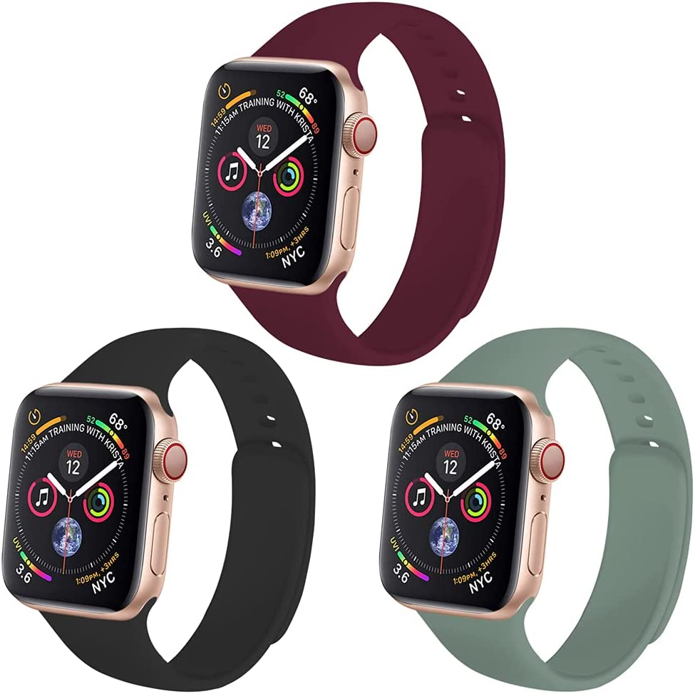 Yuroseki 3 Pack Compatible with Apple Watch Bands 38mm 40mm 42mm 44mm, Sport Soft Silicone Replacement iWatch Bands compatible with iWatch Series SE 6 5 4 3 2 1 (42mm/44mm S/M Black/Wine/Pine Green)