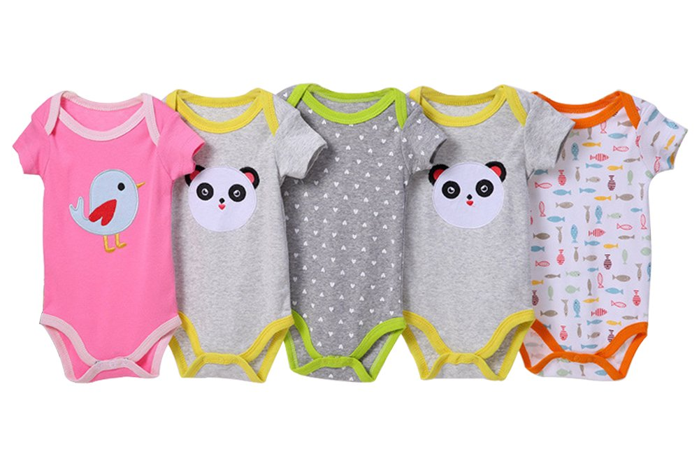 BOZEVON Baby Boys Girls Comfortable Long/Short Sleeve Bodysuit Onesies Baby Romper 0-24 Months, 5 - Pack