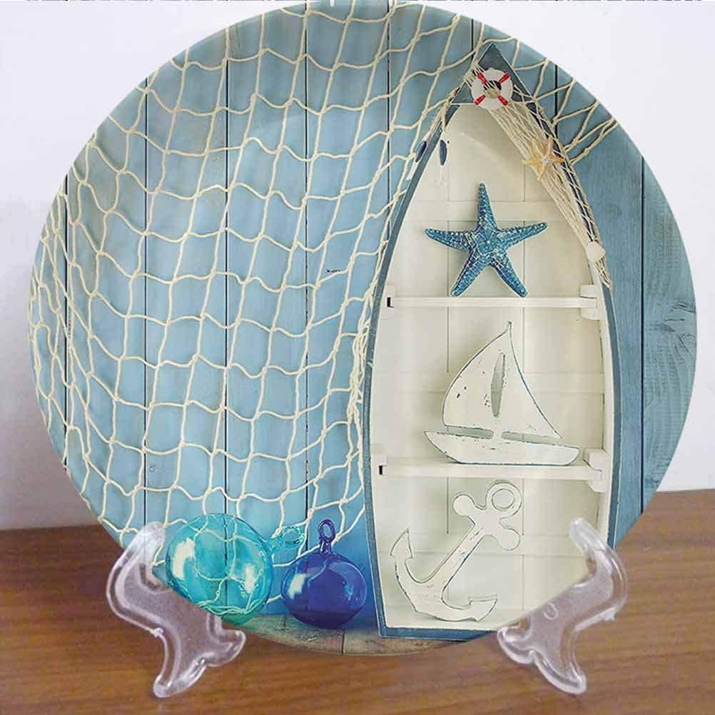"8"" Nautical Decor Ceramic Dinner Plate Sea Objects on Wooden with Vintage Boat Starfish Shell Fishing Net Photo Decor Accessory for Dining Table Tabletop Home Decor"