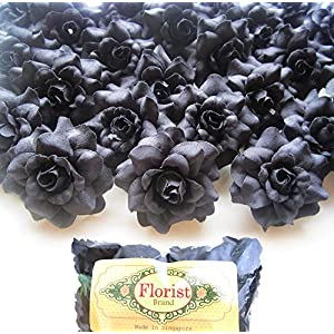 "(100) Silk Black Roses Flower Head - 1.75"" - Artificial Flowers Heads Fabric Floral Supplies Wholesale Lot for Wedding Flowers Accessories Make Bridal Hair Clips Headbands Dress 23"