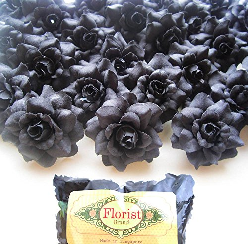 (100) Silk Black Roses Flower Head - 1.75 - Artificial Flowers Heads Fabric Floral Supplies Wholesale Lot for Wedding Flowers Accessories Make Bridal Hair Clips Headbands Dress