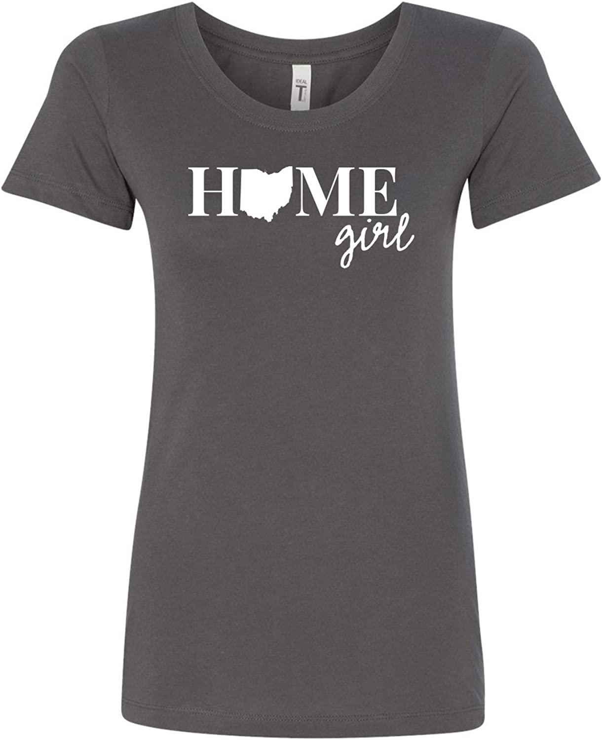 Ohio Home Girl State Love/Pride Ladies Fitted Short Sleeve Fitted Next Level Tee Shirt (Size up in Doubt)