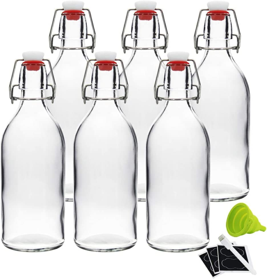 16oz Clear Swing Top Bottles -Glass Beer Bottle with Airtight Rubber Seal Flip Caps for Home Brewing Kombucha,Beverages,Oil,Vinegar,Water,Soda,Kefir (6 Pack)