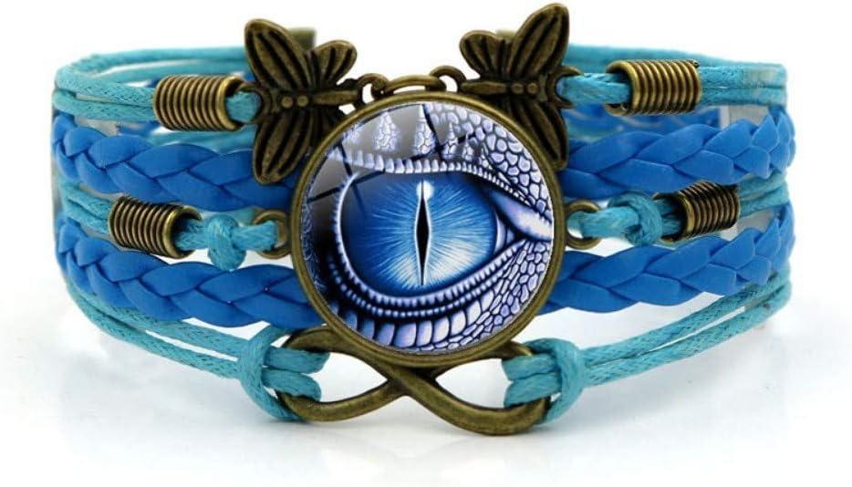 Pulsera Tejida,Cuerda Azul Ojos De Dragón Animales,Tiempo Pulsera De Piedras Preciosas De Múltiples Capas De Vidrio Tejido A Mano Joyas Combinadas Moda Para Mujer Joyas De Estilo Europeo Y Ame