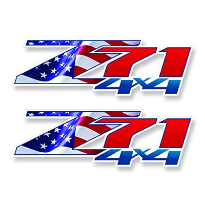 GOLD HOOK Decals Z71 Chevy GMC Flag Silverado   Patriotic   Bedside Bed Panel   Truck Sticker: Clothing