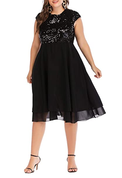 252dc628e6d ESPRLIA Womens Plus Size Sequin Short Cap-Sleeve Party Homecoming Midi Dress   Amazon.co.uk  Clothing