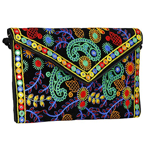 Sling Clutch Evergreen Cross Bag Bag amp; Body Handmade Banjara Black foldover Embroidered Purse Mulicolored ZIYIRq