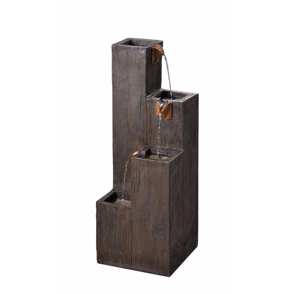 Amzhero Modern Style Lincoln Resin Wood Grain Finish Indoor/Outdoor Floor Fountain Dark Brown