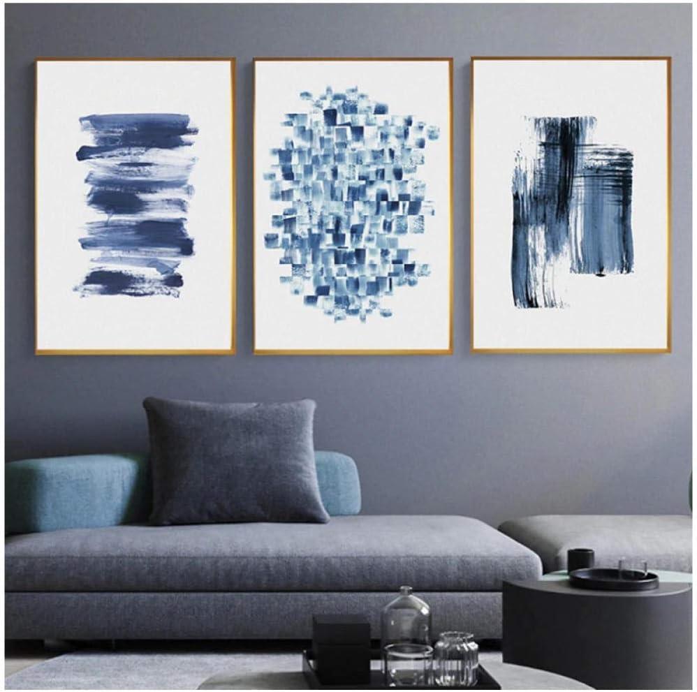 Arte de la pared Estilo nórdico Decoración del hogar Cuadros modulares Minimalismo moderno Abstracto Azul Azul marino Pintura Impreso en lienzo Carteles / 50x70cmx3Pcs-Sin marco
