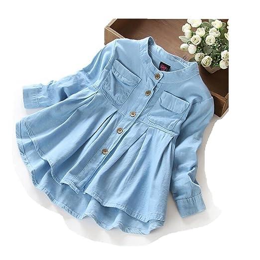 1b8f77e67c0aa8 preliked Baby Girls Denim Shirt Casual Ruffle Hem Blouse Long Sleeve Autumn  Top Coat Size 1