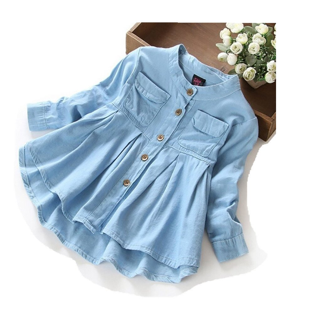 preliked Baby Girls Denim Shirt Casual Ruffle Hem Blouse Long Sleeve Autumn Top Coat Size 2-3 Years (Denim Blue)