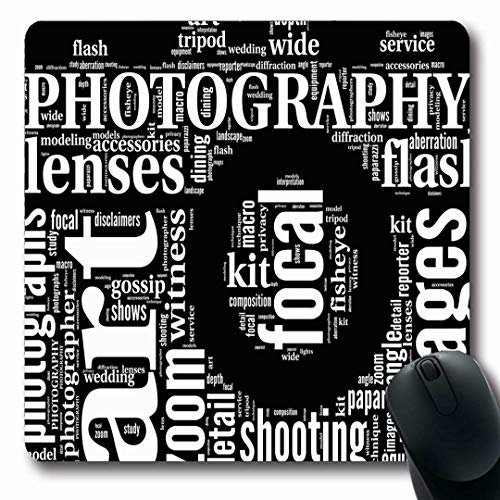 Ahawoso Mousepads Polka Photography Vintage Camera Tag Cloud Photographer Terms Artistic Black White Shape Oblong Shape 7.9 x 9.5 Inches Non-Slip Gaming Mouse Pad Rubber Oblong Mat