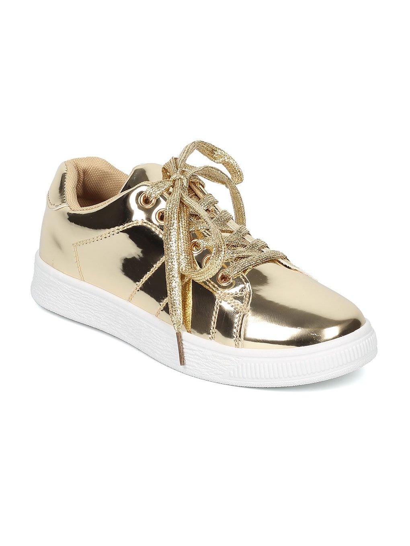 Indulge ANDI Women Mirror Metallic Lace up Low Top Sneaker HB96 B07216D4ZV 7.5 M US|Gold Metallic