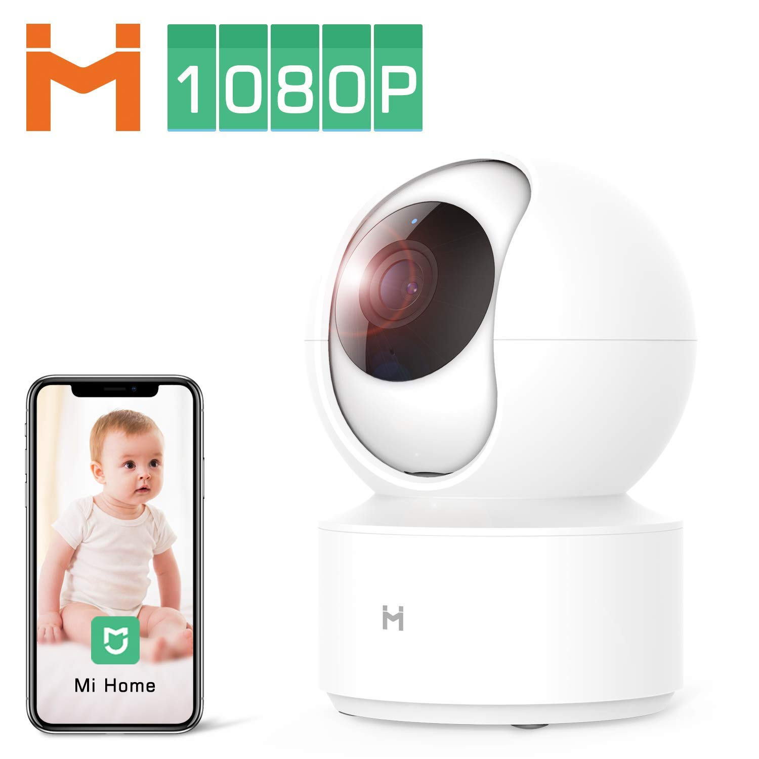 1080P Wireless Smart Home Indoor Baby IP Security Xiaomi Camera,2.4Ghz WiFi Surveillance Dome Camera Pet Nanny Monitor with 4 X Zoom,Two-Way Audio,Night Vision,Pan/Tilt,Remote View No SD Card by IMI