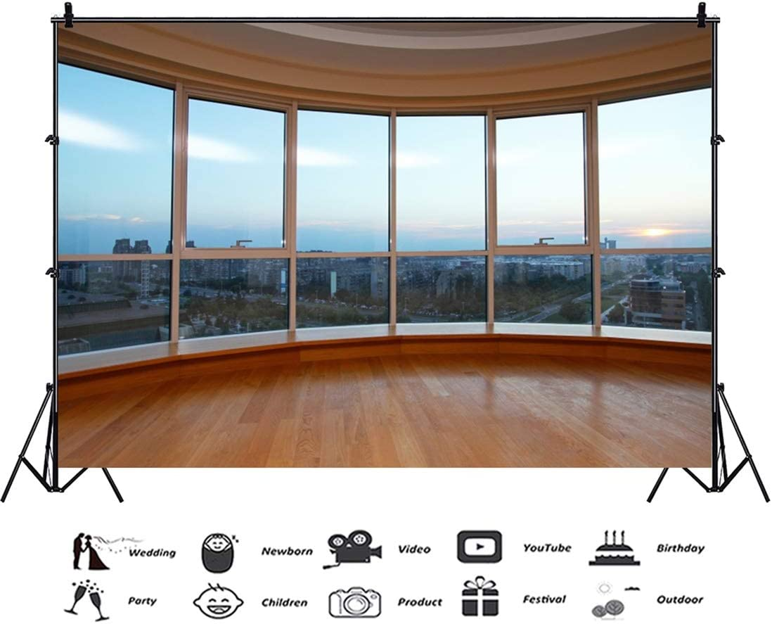 Yeele 10x8ft Floor to Ceiling Window Business Area Office High-Rise Building Photography Background Brown Wooden Floor Blue Sky and White Cloud Photo Backdrop Adults Portrait