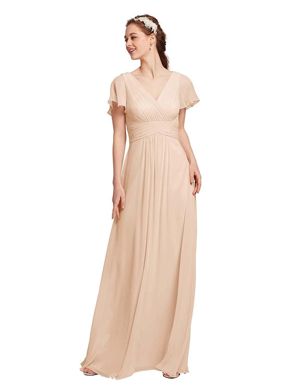 35623ff3bbe5b AW Chiffon Bridesmaid Dress V-Neck Wedding Maxi Evening Party Dress ...