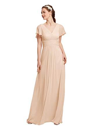 AW Chiffon Bridesmaid Dress V-Neck Wedding Maxi Evening Party Dress ...