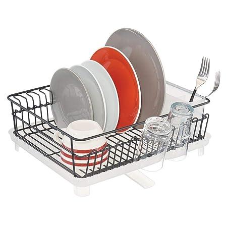mDesign Rejilla escurreplatos para el fregadero vasos y tazas Escurridor de platos Secaplatos de metal extensible y compacto negro mate