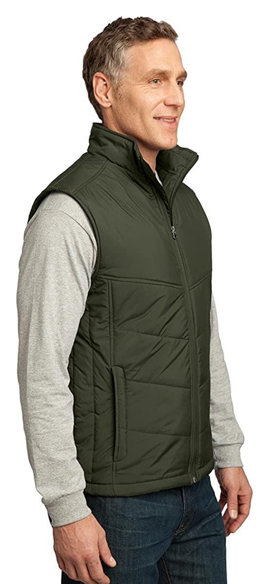 Port Authority Mens Warmth Drawcord Puffy Vest/_Olive//Cayenne