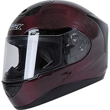 nitek Fibra de Carbono P1 On-Road Racing – Casco de motorista, color rojo